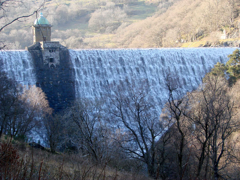 The Elan Valley Dam was the biggest construction project of the Victorian area, and is set in a stunning mountain location near Rhayader, just a few miles north of Builth Wells.