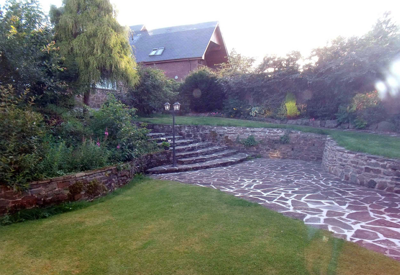 Looking out from the kitchen over our peaceful terraced garden