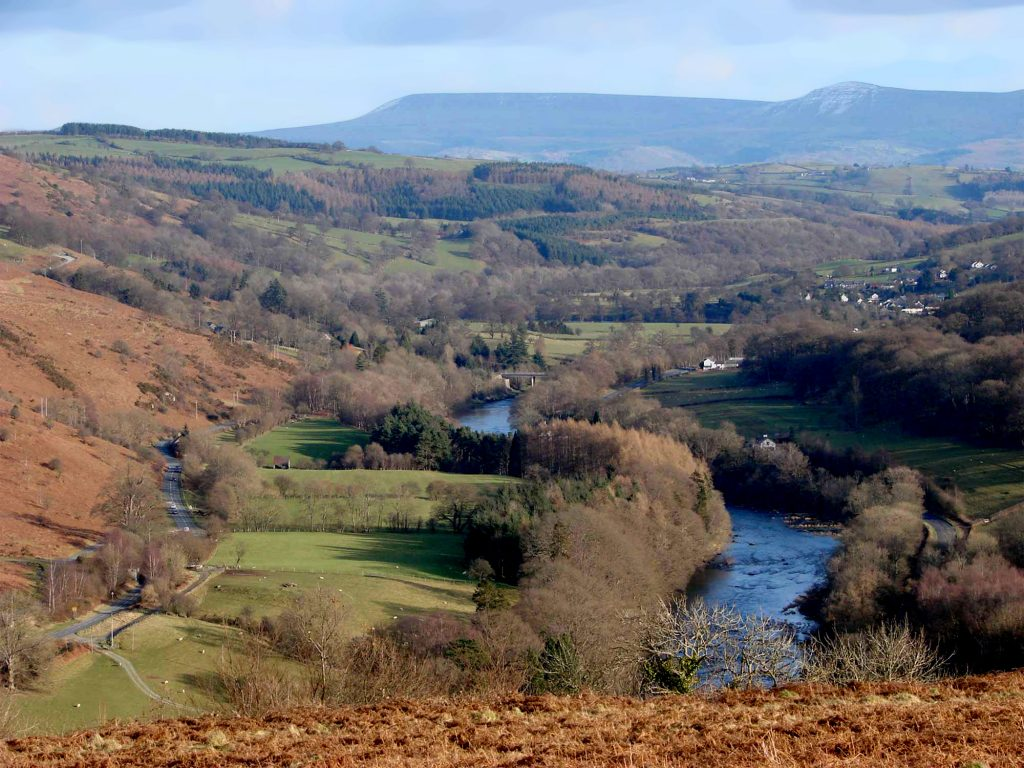 Looking along the scenic Wye Valley. There are stunning river walks suitable for most people from Builth Wells.